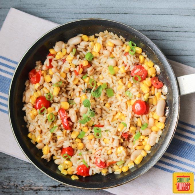 White Bean, Corn, Tomato and Rice Skillet #SundaySupper Recipe