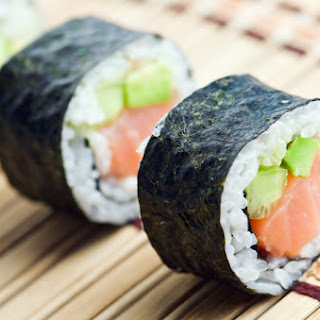 Salmon and Avocado Sushi Roll.