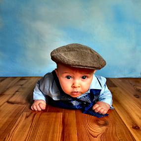 All Dressed Up and Nowhere to Go by Julie Dant - Babies & Children Babies ( babies, baby poses, baby on the floor, babies in hats, baby with a cap )