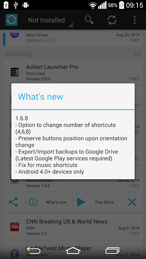 App Watcher - Updates notifier - screenshot