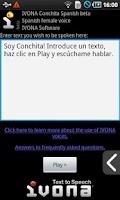Screenshot of IVONA Conchita Spanish beta
