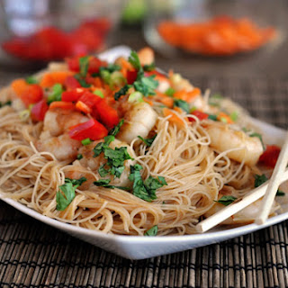 Hoisin Rice Noodles with Shrimp.