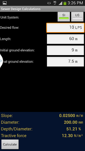 Sewer design calculations