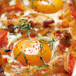 Basque-Style Baked Eggs.