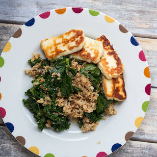 Red Quinoa, Kale and Haloumi Salad.