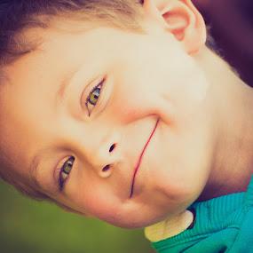 summertime by Keren Woodgyer - Babies & Children Child Portraits ( child, vertical, face, photograph, imported keyword tags, child smiling, caucasion, close up, boy, smiling )