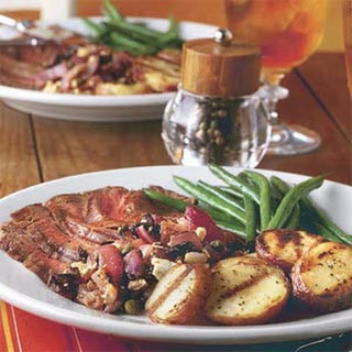 Grilled Steak and Potatoes With Red Onion Relish.