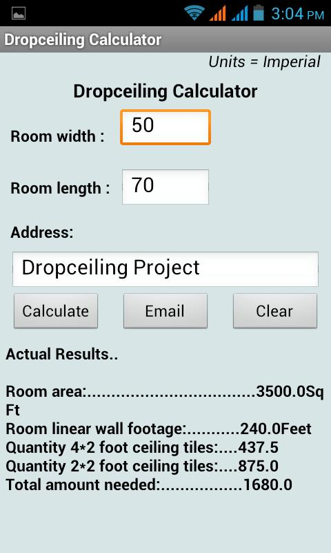 DropCeiling Calculator - screenshot