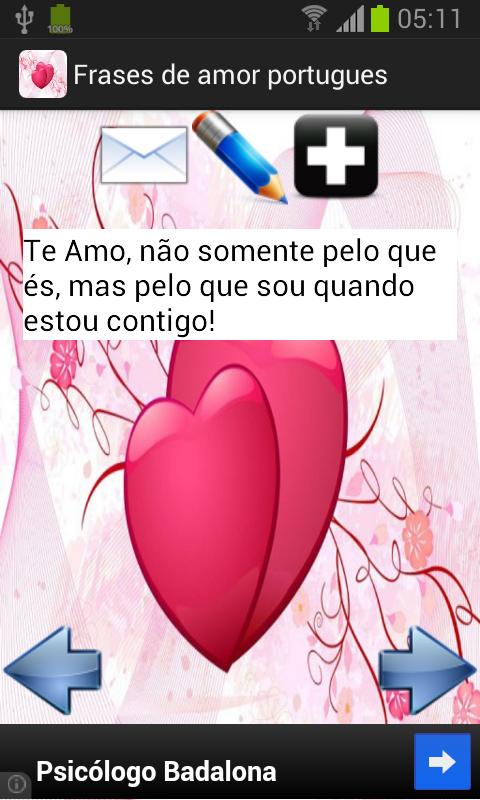 Frases de amor - português - screenshot