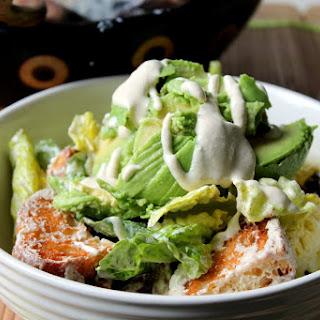 Vegan Caesar Salad With Avocado And Garlic Croutons.