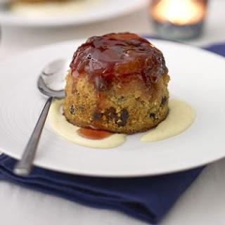 Sloe Gin & Fruit Sponge Puddings With Custard