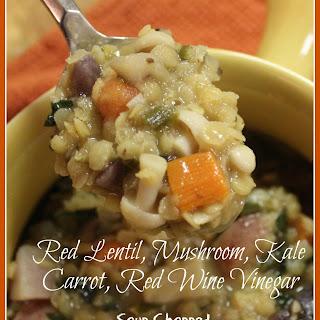 Red Lentil, Mushroom, Kale, Carrot, Red Wine Vinegar Soup Chopped