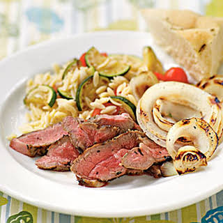 Lamb Steaks with Herbes de Provence and Grilled Sweet Onions.