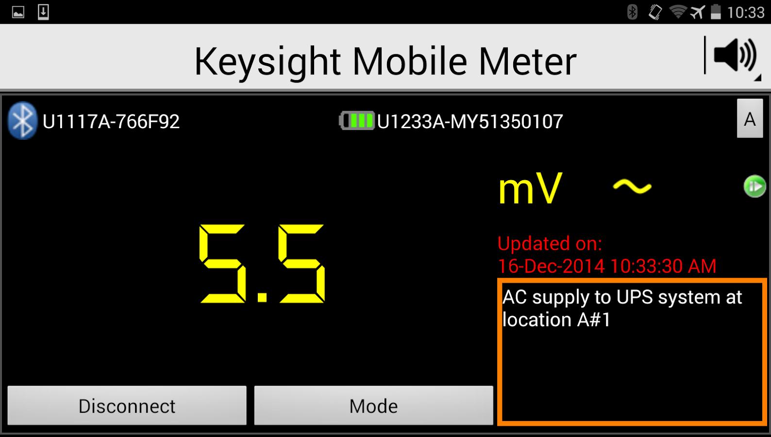 Keysight Mobile Meter - screenshot