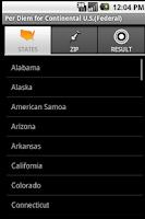 Screenshot of Per Diem for U.S. (Federal)