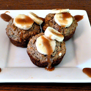 Banana Oat Muffins with Salted Caramel Drizzle.