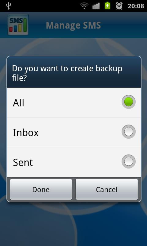 Manage SMS - screenshot