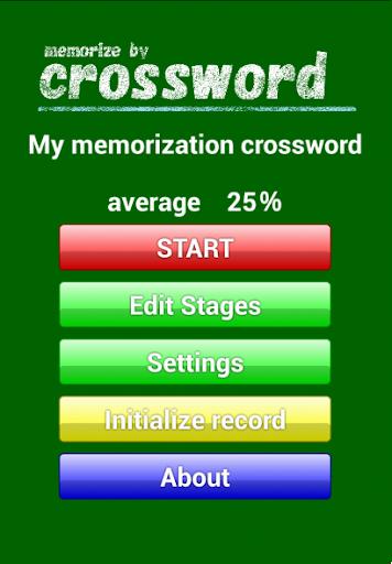 My memorization crossword