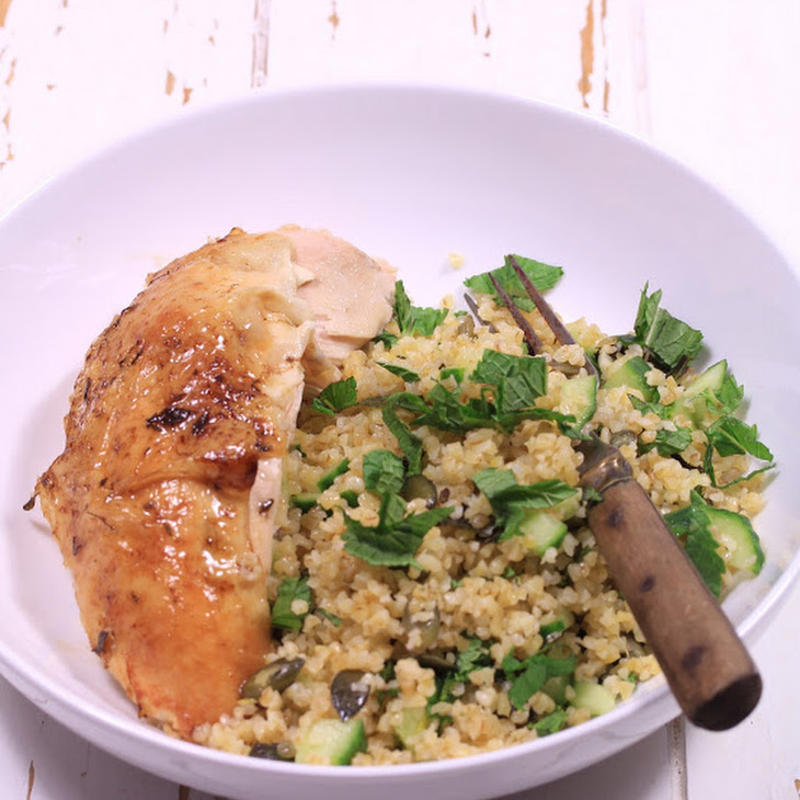 Chicken with Lemon and Warm Bulgur Salad with Thyme Recipe