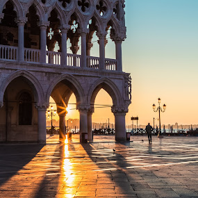 Good Morning Venice by Stephen Bridger - City,  Street & Park  Street Scenes ( venezia, europe, italia, venice, travel, sunrise, italy, travel photography )