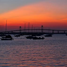 Newport Bridge by Richard Moyen - Landscapes Waterscapes ( boats, newport, ocean, ships, bridge, swater )