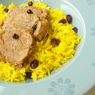 Spicy Pork Loin and Basmati Rice with Saffron and Raisins.