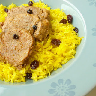 Spicy Pork Loin and Basmati Rice with Saffron and Raisins.