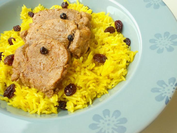 Spicy Pork Loin and Basmati Rice with Saffron and Raisins Recipe