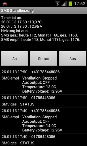 Standheizung SMS