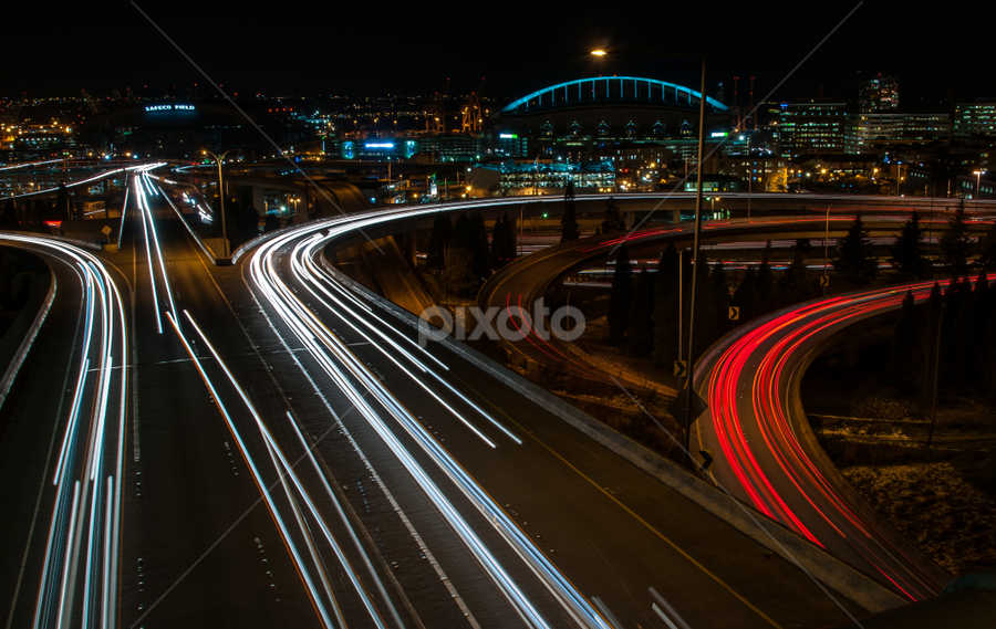 by Larry Rogers - City,  Street & Park  Night