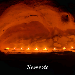 Namaste by Roxie Crouch - Typography Words ( birth, candles, red rock, namaste )