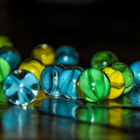 I found them by Sharon Wills - Artistic Objects Still Life ( blue, green, marbles, yellow, texturres, shapes, colours,  )