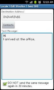 Locale Send SMS Plug-in- screenshot thumbnail