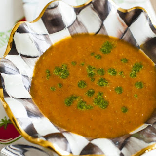 Roasted Tomato Soup with Fresh Basil Pesto.