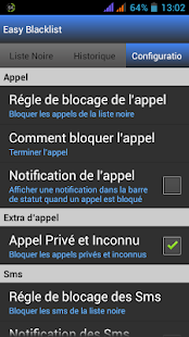 Easy BlackList - Appel Sms - Capture d'écran