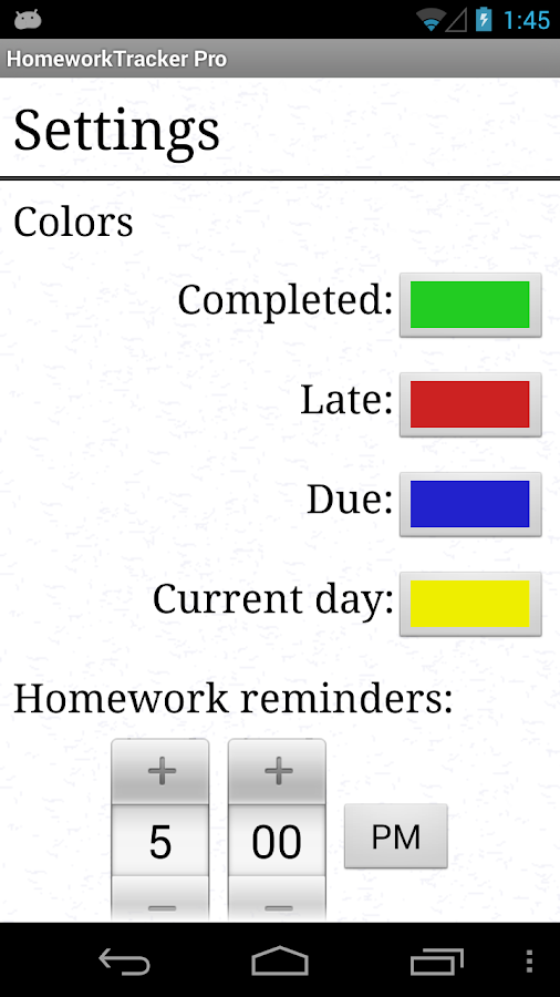 Homework Tracker- screenshot