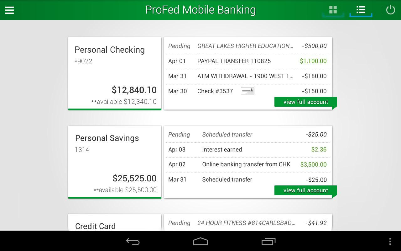 ProFed Online Mobile Banking - screenshot