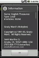 Screenshot of English Thesaurus Package