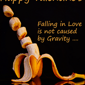 Happy Valentine's by Angelika Sauer - Typography Quotes & Sentences ( valentine's day, still life, fruits, poetry, postcard, yellow, valentine, romance, close up, love, quotes, bananas, food, greetings, compose, season of love, black, gravity )