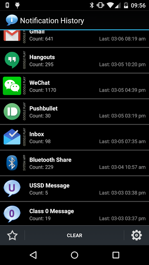 Notification History - screenshot