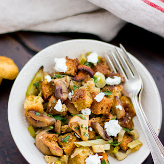 Gluten-Free Cornbread Stuffing with Chestnuts, Leeks, and Chanterelles