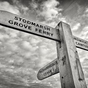 Stodmarsh Signpost by Dan Horton-Szar ARPS - Black & White Objects & Still Life ( countryside, sign, old, wooden, monochrome, canterbury, black and white, crossroad, kent, road, rural, stodmarsh,  )