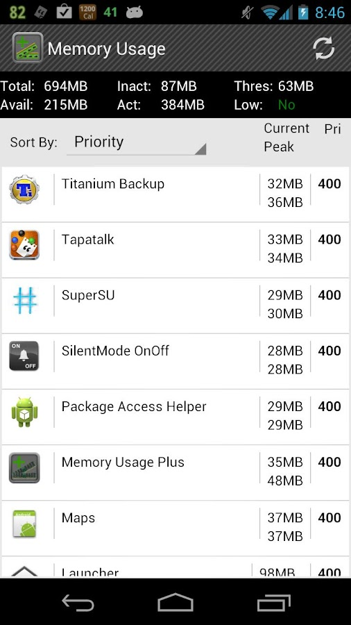Memory Usage - screenshot