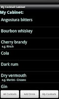 Screenshot of My Cocktail Cabinet Lite