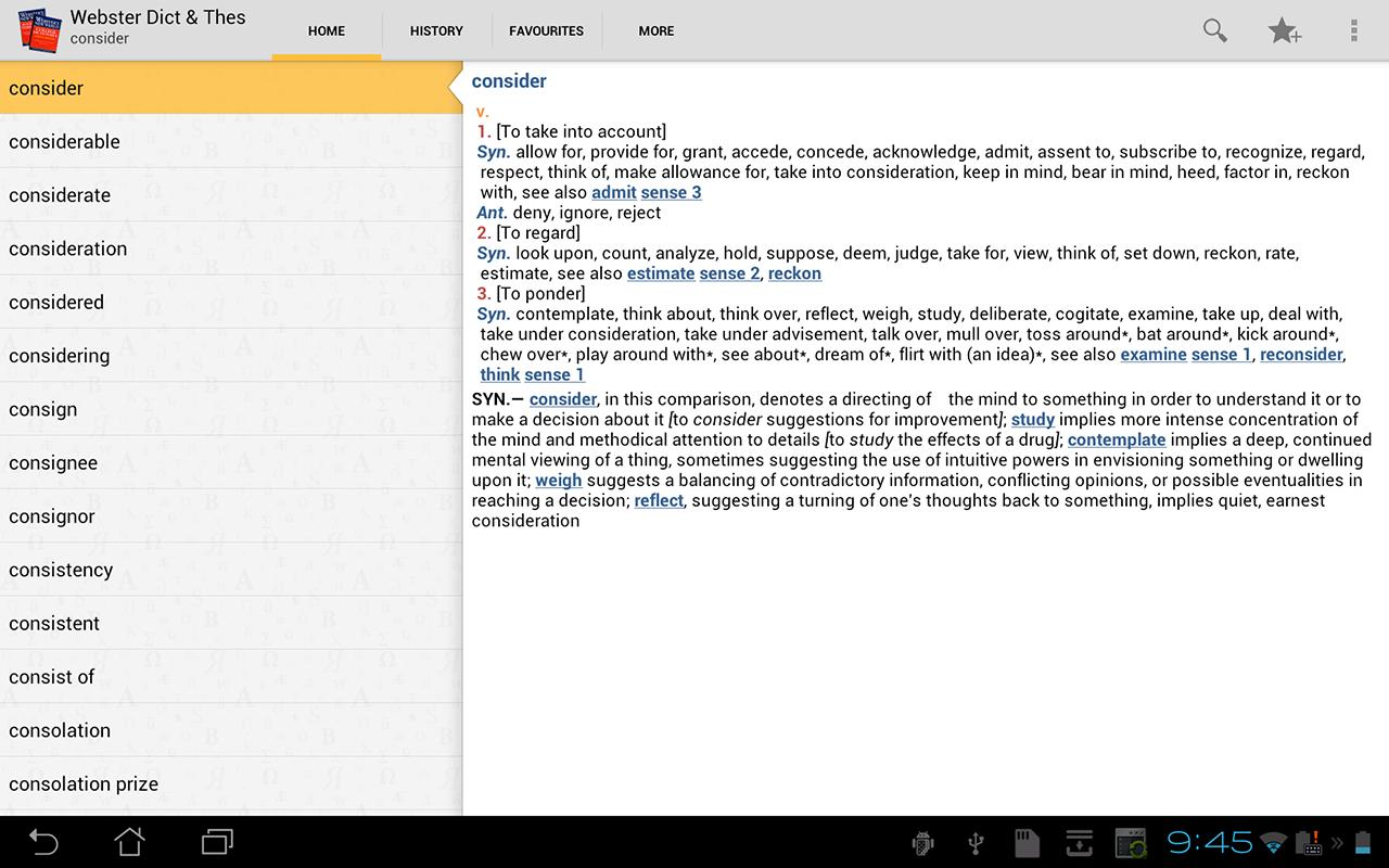 Webster's Dictionary+Thesaurus - screenshot