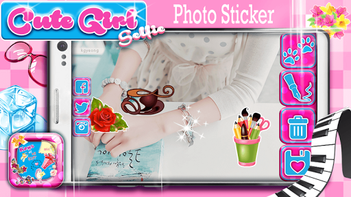 Cute Girl Selfie Photo Sticker