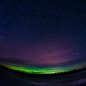 Stars and Northern Lights by Sarthak Bisaria - Landscapes Starscapes ( fisheye, ice, stars, aurora borealis, northern lights, frozen lake, lake, night )