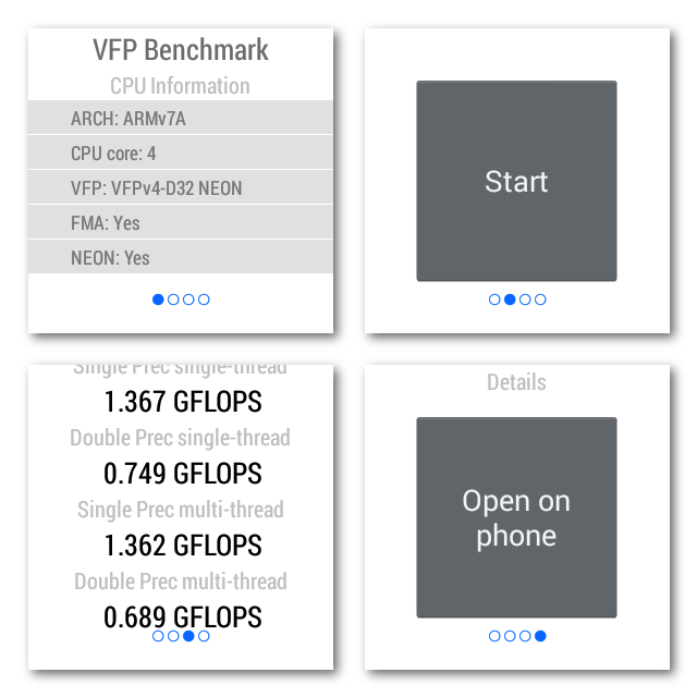 VFP Benchmark for Android Wear- スクリーンショット