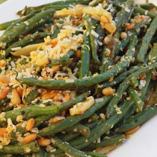 Roasted Green Beans with Garlic, Lemon, Pine Nuts & Parmigiano-Reggiano.