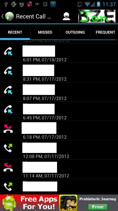 Recent Call Log- screenshot